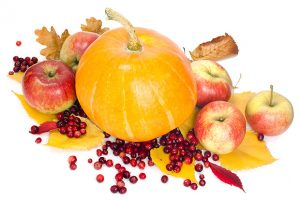Pumpkin, apples and Cranberries on fall leaves